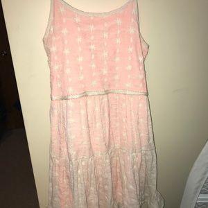 Coral/Cream lace layered dress